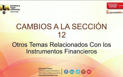 Enmiendas 2015 Sección 12 Otros Temas Relacionados con los Instrumentos Financieros