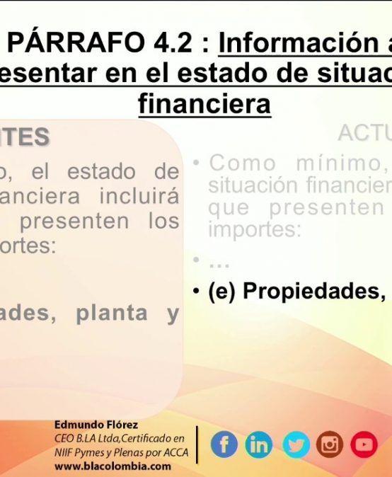 Enmiendas 2015 Sección 4 : Estado de Situacion Financiera