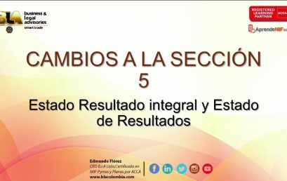 Modificaciones 2015 Seccion 5: Estado Resultado Integral y Estado de Resultados
